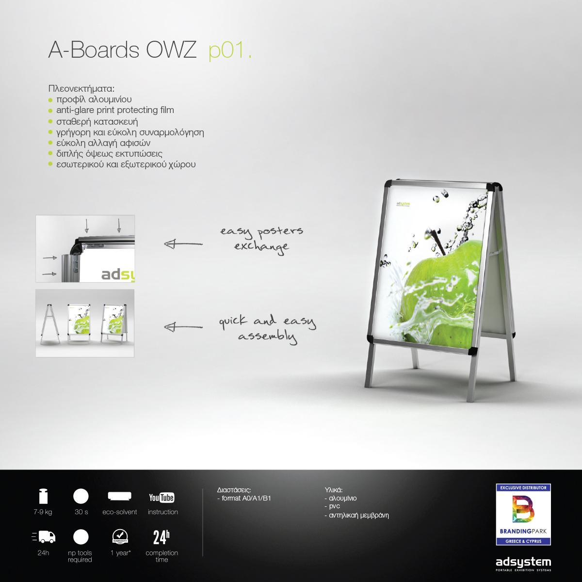Πτυσσόμενη Επιγραφή A-Boards OWZ p01.