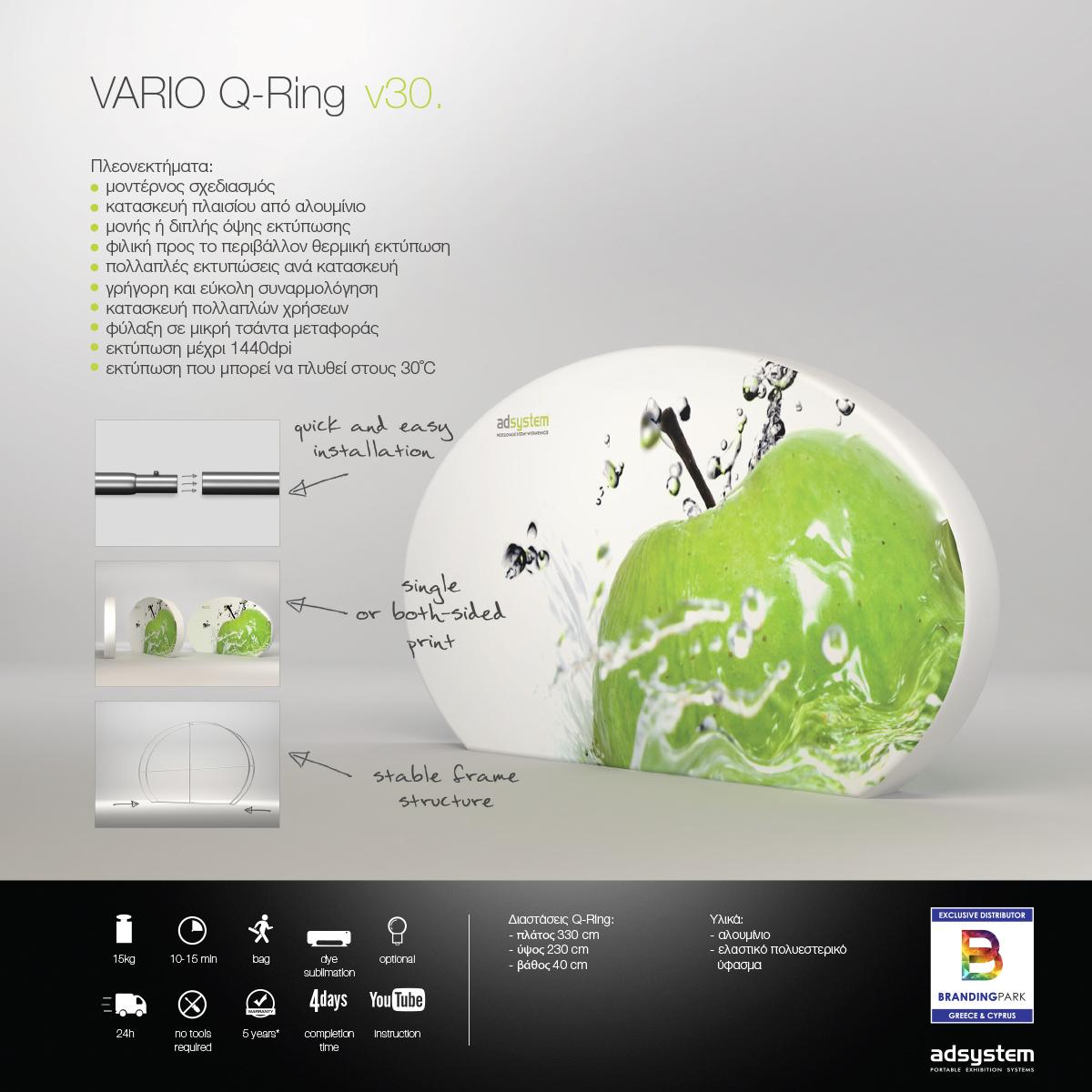 Υφασμάτινος τοίχος προβολής - backdrop, Vario Q-Ring v30.