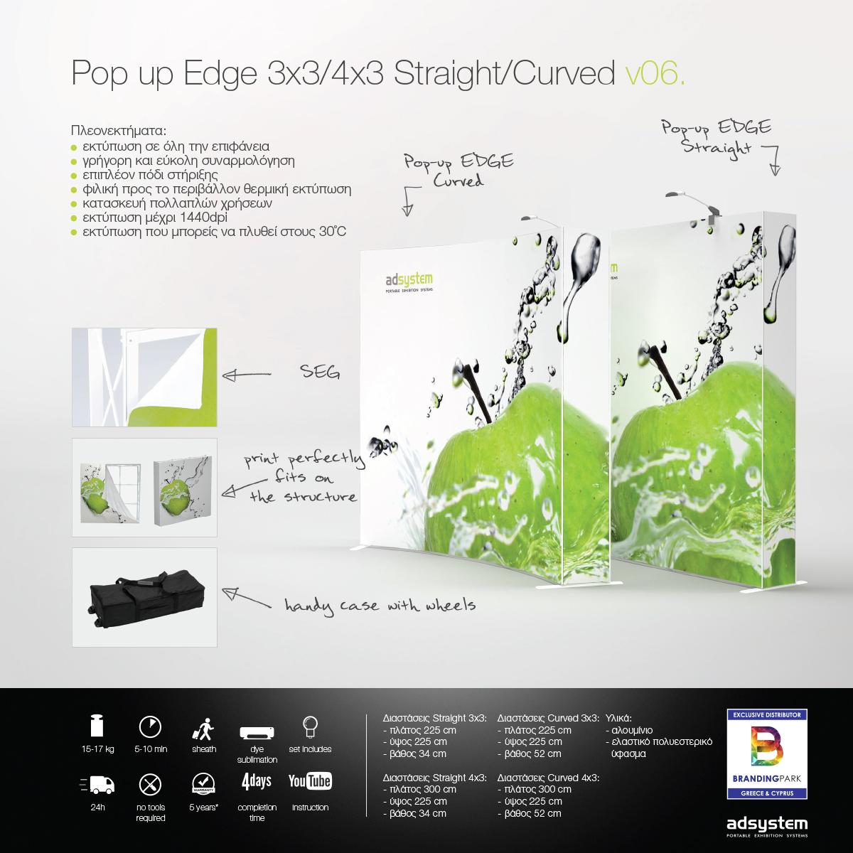 Υφασμάτινος τοίχος προβολής Pop up Edge 3x3/4x3 Straight/Curved v06.